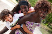 Having fun with my 2 sisters — Stock fotografie
