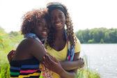 Blackj sisters in nature — Stock fotografie
