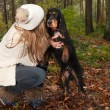 Playing with the dog — Stock Photo