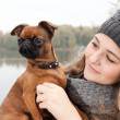 Beauty winter face and dog — Stock Photo