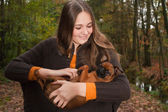 Play with the dog — Stock Photo