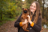 Girl with a nice dog — Stock Photo