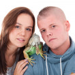 Couple and the dragon — Stock Photo