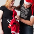 Christmas pregnancy couple — Stock Photo