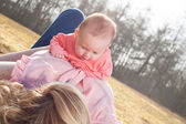 Mother and baby time on the grass — Stock Photo