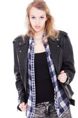 Confident teenager in leather — Stock Photo