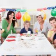 Big family celebrating birthday together — Stock Photo