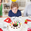 Boy at his birthday party — Stock Photo