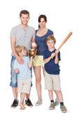 Szczęśliwe rodziny z dziećmi na białym tle — Zdjęcie stockowe