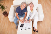 Excited middle-aged couple doing finances at home — Stock Photo