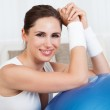 Happy woman with a pilates ball — Stock Photo
