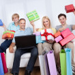 Family of online shoppers — Stock Photo