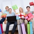 Stock Photo: Family of online shoppers