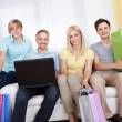 Family of online shoppers — Foto Stock