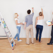 Family teamwork during home maintenance — Stock Photo