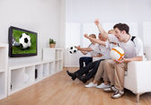 Jubilant family watching television — Stockfoto