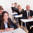 Stock Photo: BusinesswomRaising Her Hand