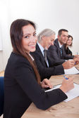 Business Woman In Meeting With Colleagues — Stock Photo