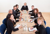 Portrait Of A Serious Business Men And Women — Stock Photo