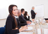 Young Business Woman Attending A Meeting — Stock Photo