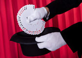 Magician Hand Holding Fanned Deck Of Cards — Stock Photo