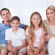 A Happy Family With Two Children — Stock Photo