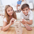 Children Playing With Wooden Blocks — Stock Photo