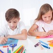Portrait Of Girl and Boy Drawing - Stock Photo