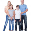 Portrait Of Happy Family On White Background - Foto Stock