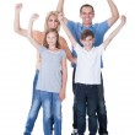 Portrait Of Happy Family On White Background — Stock Photo
