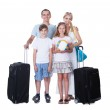 Happy Family With Luggage Going For Vacation — Stock Photo