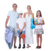 Happy Family With Two Children Ready For Vacation — Stock Photo
