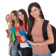 Four female students in a row — Stock Photo