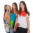 Stock Photo: Four female students in row