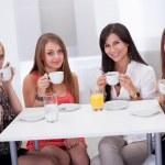 Stylish woman having coffee — Stock Photo