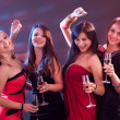Stylish women toasting with champagne — Stock Photo