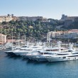 Row of yachts in Monaco Port — Stock Photo