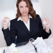 Woman crumpling paper in frustration — Stock Photo #14942531