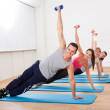 Large group of working out in a gym — Stock Photo