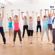 Aerobics class working out with dumbbells — Stock Photo