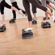 Class doing aerobics balancing on boards - Stock Photo