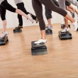Stock Photo: Class doing aerobics balancing on boards