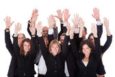 Group of business waving in acknowledgment — Stock Photo