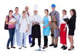 Grupp som representerar olika yrken — Stockfoto