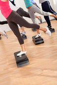 Class doing aerobics balancing on boards — Stok fotoğraf