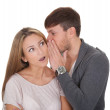 Loving guy whispered something — Stock Photo