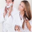 Shaving cream applied on face — Stock Photo #15716681