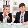 Business partners discuss sales — Stock Photo