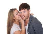 Young woman whispered something — Stock Photo