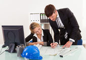 Construction plans revised and signed — Stock Photo